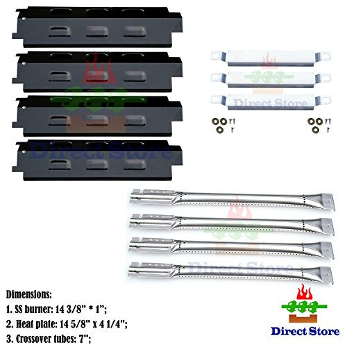 Direct store Parts Kit DG160 Replacement Charbroil 463440109 Gas Grill Repair Kit (SS Burner + SS carry-over tubes + Porcelain Steel Heat Plate) by Direct store