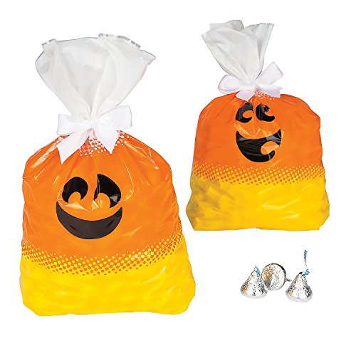 Halloween Candy Corn Themed Plastic Party Favor Gift Bags - 12 pieces -