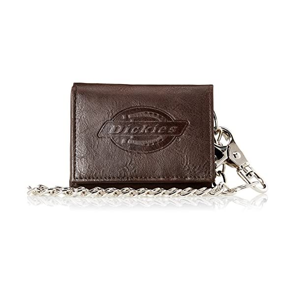 Dickies Men's Leather Chain Wallet – High Security Trifold With ID Window...