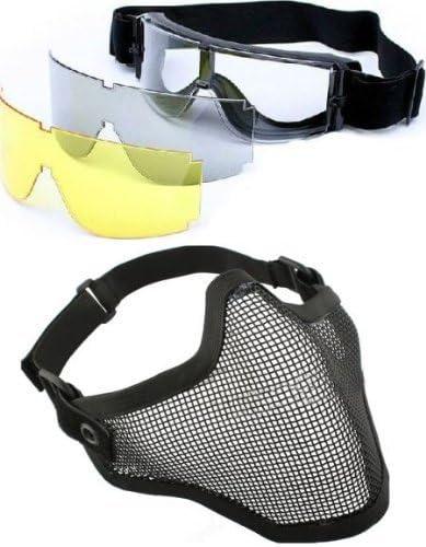 Presentz 2en 1máscara de protección Acero + X8003Lente Gafas de Airsoft Paintball Juego Multi-Color, 7,87x 7.08X 3,15