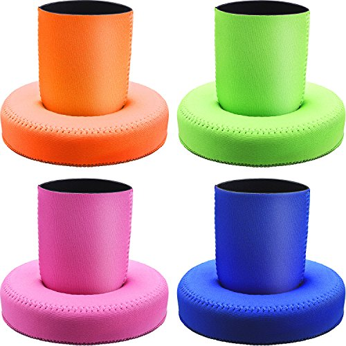 SATINIOR 4 Pairs Floating Drink Holder Reusable Can Sleeves Drink Pool Floats Cup Holder