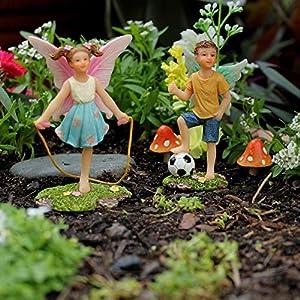 pretmanns fairy garden fairies accessories fairy figurine boy fairy miniatures set fairy garden supplies 2 piece fairy garden kit