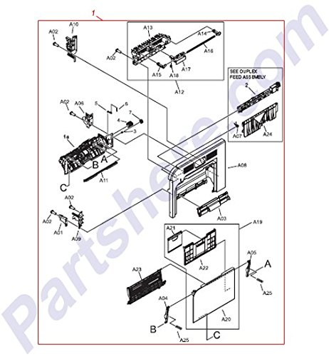 HP RM1-4957-000CN OEM - Right door assembly - Drop down door use as the multi-purp ()