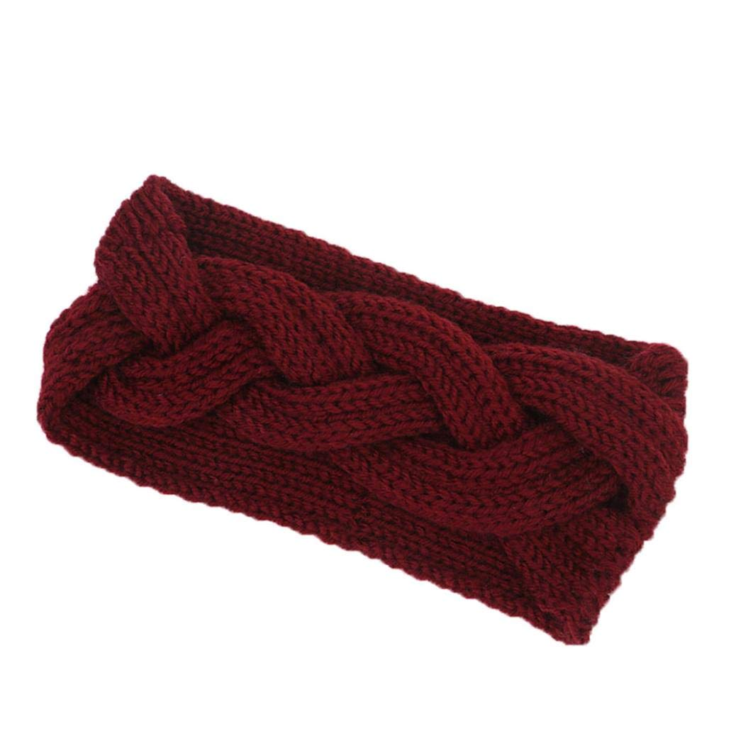 Appoi Headband Headwrap Women Wool Knotted Knitted Headbands Solid Color Elastic Stretchable Winter Warm Head Wrap Wide Non Slip Fashion Hair Accessories (Red) by Appoi Headband Headwrap (Image #3)