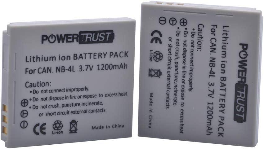 PowerTrust 2Pcs NB-4L NB4L NB 4L Battery for Canon IXUS 30 40 50 55 60 65 80 100 I20 110 115 120 130 is 117 220 225 230 255 PowerShot ELPH 100 HS, 300 HS, 310 HS, SD1000, SD1100 is