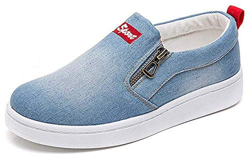 HAPPYSTORE Women Sneaker Denim Jeans Classic Low Top Round Toe Casual Shoes African Sneakers Loafers Shoes Light Blue