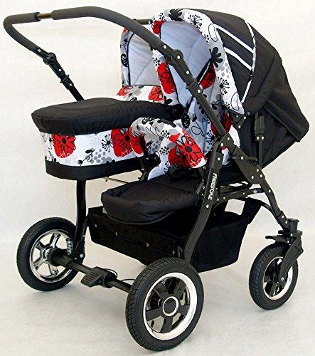 Carro gemelar 3en1. 2 capazos + 2 sillas + 2 grupo 0 + accesorios (rojo+negro): Amazon.es: Bebé
