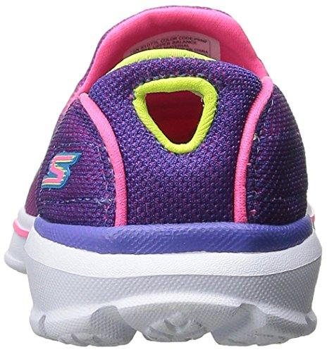 Skechers Kids Go Walk 3 Slip On (Little Kid/Big Kid), Purple/Neon Pink, 12 M US Little Kid