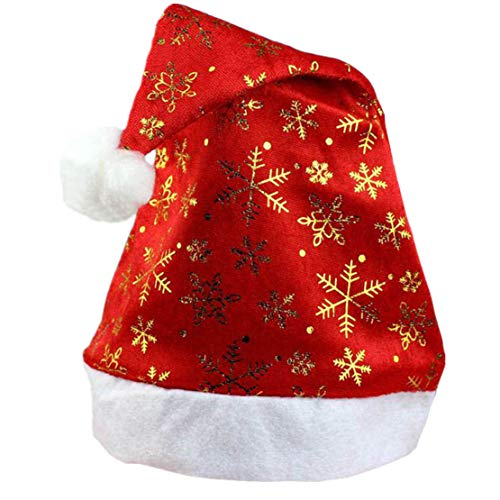 NEEKEY New Christmas Holiday Xmas Cap for Santa Claus Gifts Nonwoven GD(Free Size,Gold) ()