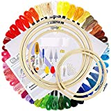 Full Range of Embroidery Starter Kit Including 5 Pieces Bamboo Embroidery Hoops 50 Random Color Threads and 9 Pcs Random…