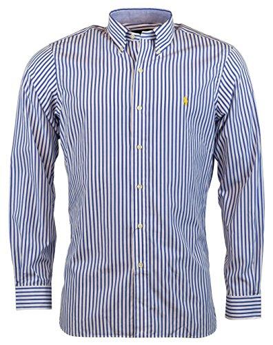 Classic Shirt Mens Stripe (Polo Ralph Lauren Men's Classic Fit Button-Front Shirt - Blue Stripe - XXL)