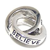 Solid 925 Sterling Silver Dangling '''You Are Braver Than You Believe' Rings with Clear CZ '' Charm Bead 782 for European Snake Chain Bracelets