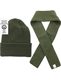 US Army Genuine GI Military 100% Wool Scarf & USN Wool Hat Watch Cap (2 Piece Set)