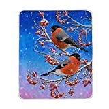 My Little Nest Warm Throw Blanket Two Birds Red Berries Lightweight Microfiber Soft Blanket Everyday Use for Bed Couch Sofa 50'' x 60''