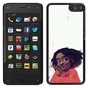 // PHONE CASE GIFT // Duro Estuche protector PC Cáscara Plástico Carcasa Funda Hard Protective Case for Amazon Fire Phone / Cheerful Happy Girl Positive Portrait Art Face /
