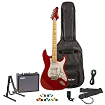 Sawtooth ES Series Electric Guitar with Sawtooth 10 Watt Amp & ChromaCast Accessories, Candy Apple Red w/ Pearl White Pickguard