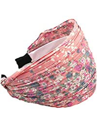 Womens Floral Lace Pleat Wide Headband Hair Band