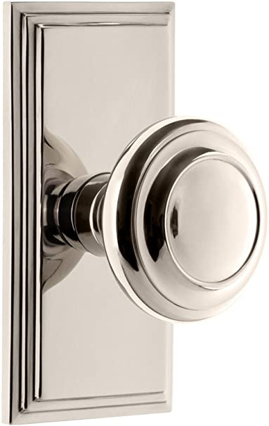 Grandeur 825291 Carre Plate Privacy With Circulaire Knob In Polished Nickel 2 75 Amazon Com
