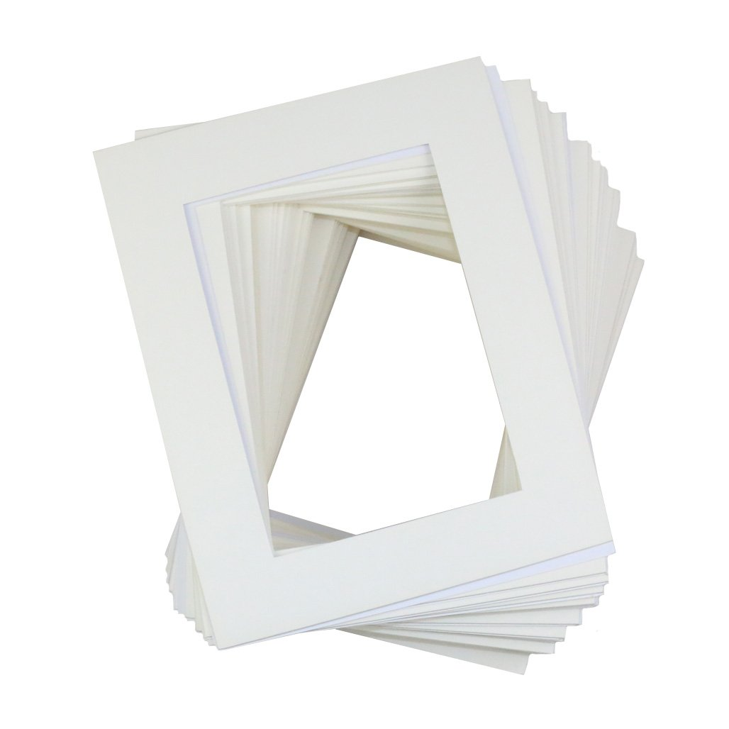 MS Pack of 50 8x10 White Picture Mats Mattes with White Core Bevel Cut for 5x7 Photo TO388
