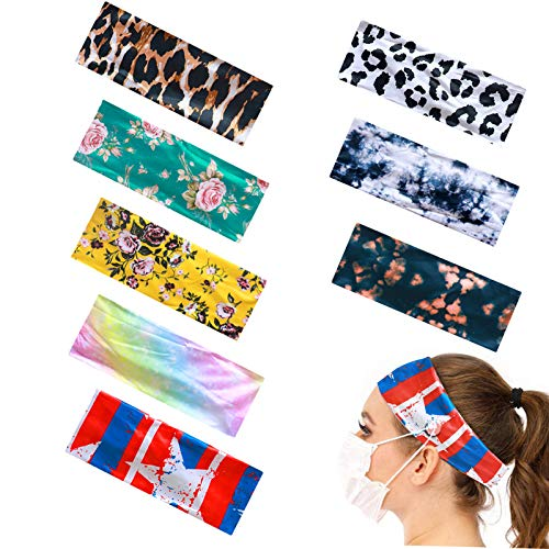 8 Pieces Headbands with Buttons for Women Fashion Hair Bands, Covers Unisex Elastic Hair Band for Nurses Doctors and Ears Protection