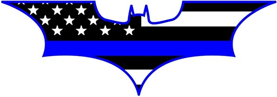 Pair of Batman Dark Knight US Flag with Blue Line Decal Stickers - PLUS 4 MORE STICKERS - 6 Stickers Total - Buy NOW