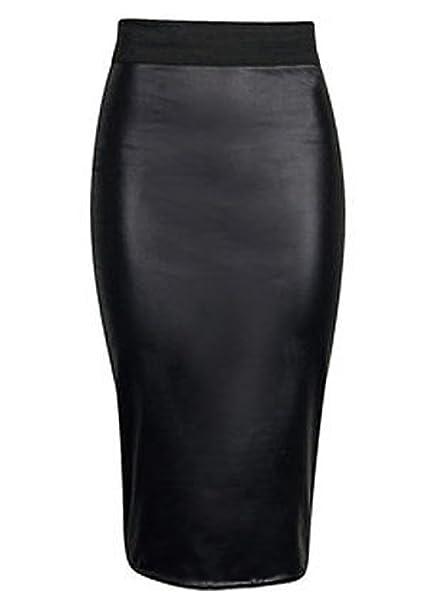 Hot UK Women Skirt Mini Slim Skirt High Waist PU Leather Pencil Bodycon Skirt