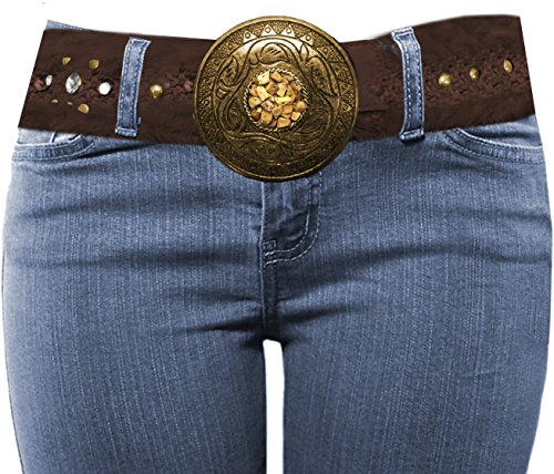 LUNA Western Cowgirl Charm Bling Belt Series - Fur - Brown ML