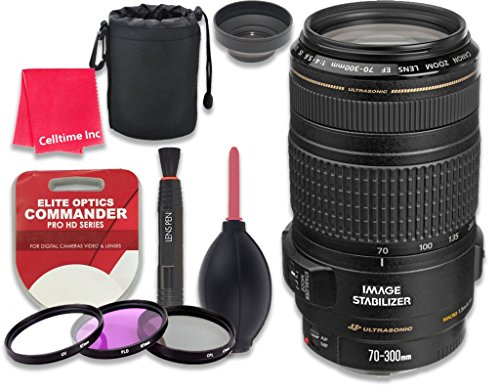 Canon EF 70–300mm f/4–5.6 IS USM Lens for Canon DSLR Cameras - International Version (No Warranty) + 3pc Filter Kit (UV, FLD, CPL) + 3pc Accessory Kit w/ Celltime Cleaning Cloth by Celltime Inc.