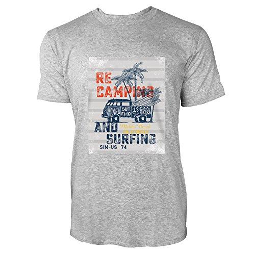 SINUS ART® Recamping and Surfing Herren T-Shirts in hellgrau Fun Shirt mit tollen Aufdruck