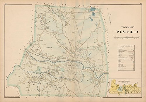 Atlas of Hampden County, Massachusetts, Westfield 1894 |24in x 18in Historic City Map Vintage - North County Westfield Map