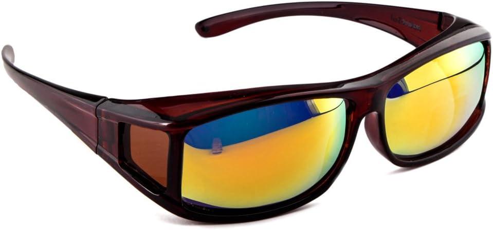 Gafas de sol superpuestas ACTIVE SOL para hombres   Gafas de sol superpuestas UV400   polarizadas   Gafas polarizadas Fit-over para personas que llevan gafas   marrón