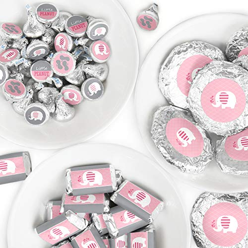 Pink Elephant - Mini Candy Bar Wrappers, Round Candy Stickers and Circle Stickers - Girl Baby Shower or Birthday Party Candy Favor Sticker Kit - 304 -