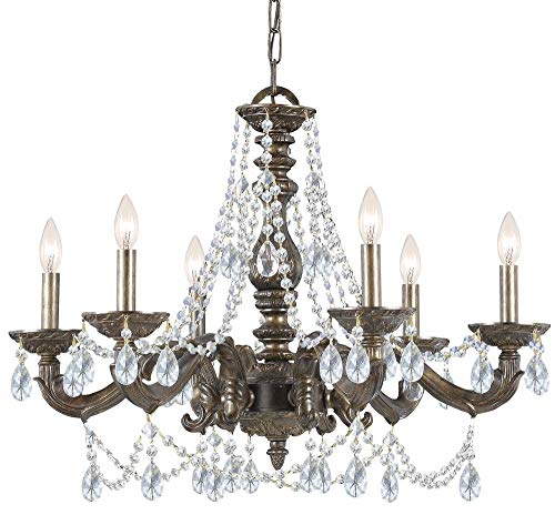 Crystorama 5026-VB-CL-MWP Traditional Six Light Chandelier from Paris Market collection in Bronze/Darkfinish, - Light Chandelier Crystorama Lighting