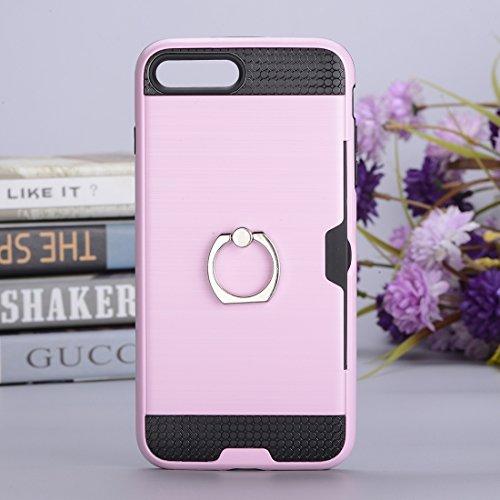IPhone 7 Plus Case, Texture Metall Schutzmaßnahmen zurück Fall mit Ring Halter Stand und Card Slot CASE FÜR IPHONE 7 PLUS ( Color : Pink )