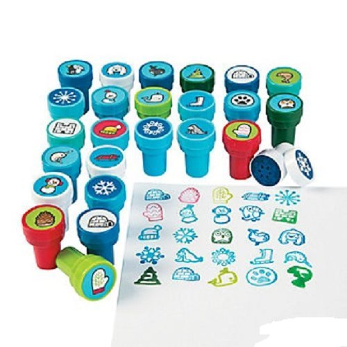 Shrink-wrapped 50 Piece ~ Winter Theme Stamper Assortment ~ 2 Each of 25 Stampers ~ Plastic Approx 1.5 ~ New