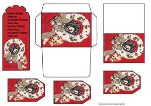 Tarjeta de diseño de perritos de regalo, sobre, etiquetas y bookmarker por Angela de encendido