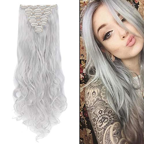 S-noilite 24 Inches Long Curly Full Head Clip in Synthetic Hair Extensions 8pcs(Silver Grey)