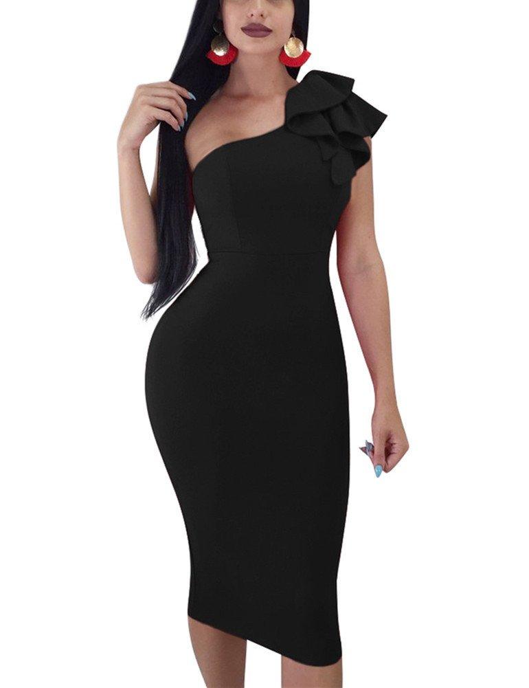 Mokoru Women's Sexy Ruffle One Shoulder Sleeveless Bodycon Party Club Midi Dress, Large, Black