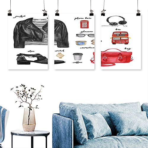 (SCOCICI1588 3 Panel Canvas Wall Art London Outfit Fashion Draw for Home Modern Decoration No Frame 16 INCH X 30 INCH X)