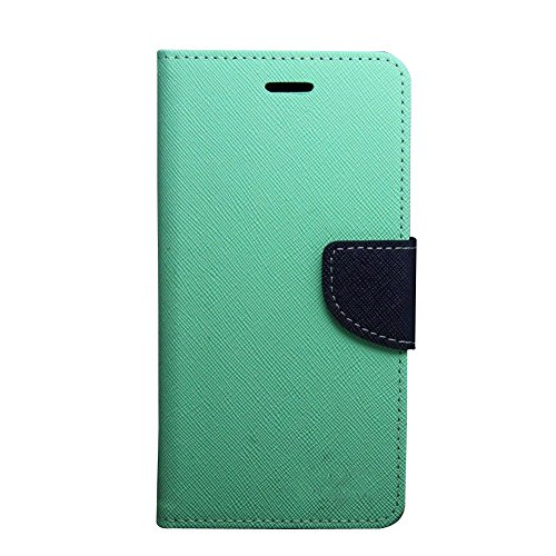 HEZONG Dual Color Deluxe Wallet Leather Flip TPU Stand Case Cover for Sony Xperia C3 S55 Phone (Mint+Navy)