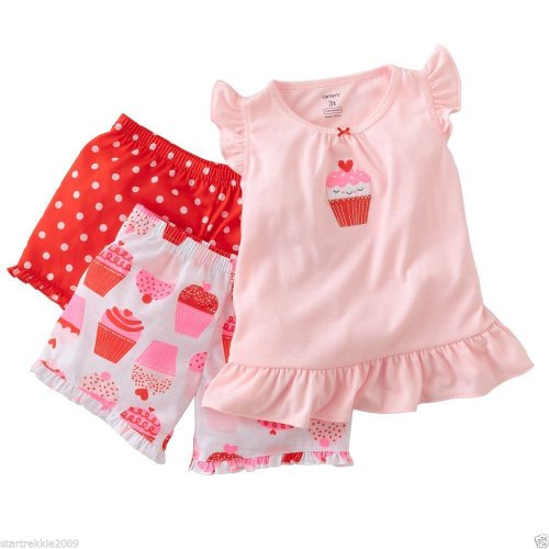 Carter's Baby Girls 3 Pc Poly Cupcake Pajamas Set (Sz  18m