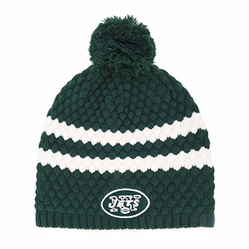 NFL New York Jets Women's Winona OTS Beanie Knit Cap with Pom, Dark Green, Women's (New Hat York Winter Jets)