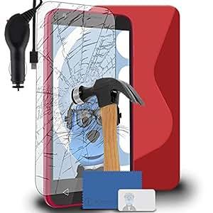 iTALKonline Alcatel OneTouch ocultar 2 paneles (4) 10,16 cm de carcasa de plástico para S de manga corta para hombre con onda en forma de carcasa de Gel para diseño con forma de Gel para silla de montar de vidrio templado Protector de pantalla de cristal con función de conexión de pantalla y accesorio para y Protector de 1000 mAh diseño con texto en espiral y para el mechero del coche de luz indicador de potencia y sistema de limpieza de sobrecarga de ruido para tiro deportivo, compatible con Alcatel OneTouch Pixi 3 (4) 4 Inch