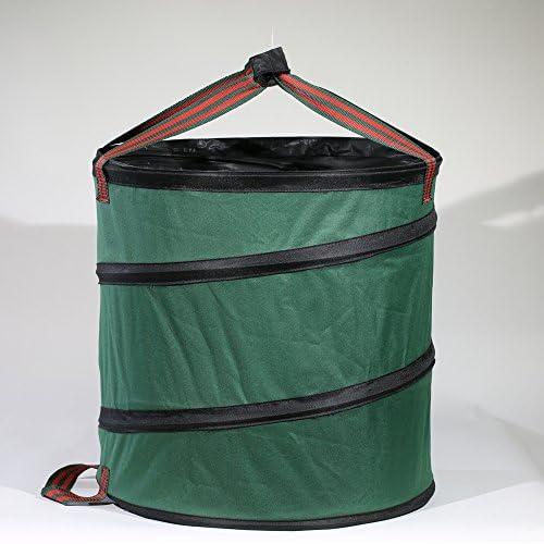SUSUQI ガーデンバッグ ガーデン用収草袋 ガーデンバケツ ガーデンバッグ 折り畳み 自立式 丸大 枯れ葉 落ち葉 雑草 エクステリア バッグ 便利 アイテム size 18.5 x 20 inch (Green)