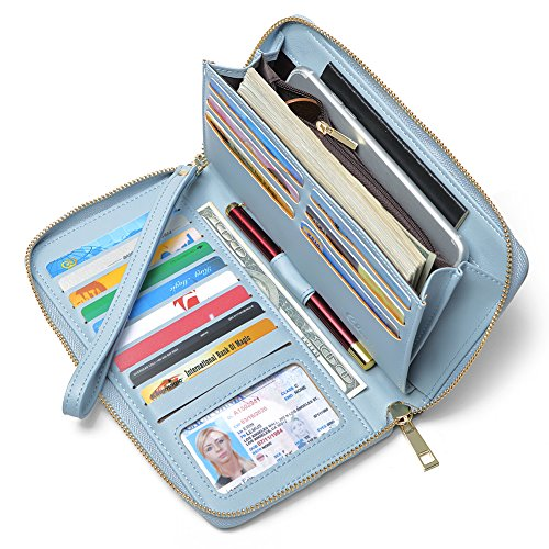 Women Wallet Large Capacity Leather Zipper Around Clutch Card Holder Organizer Ladies Travel Purse with Removable Wristlet Strap Blue