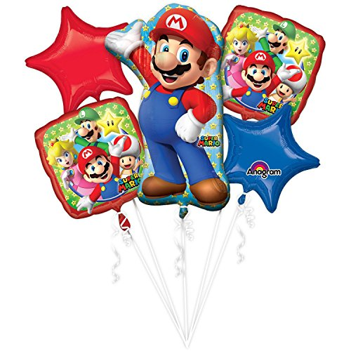 Super Mario Bros Balloon Bouquet - Super Mario Balloons - 5 Pieces