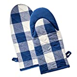 """DII Cotton Buffalo Check Plaid Oven Mitts, 13x6"""" Set of 2, Heat Resistant for Home Kitchen Cooking and Baking, Perfect for Mother's day, Holidays, Hostee and Housewarming Gift-Navy & Cream"""