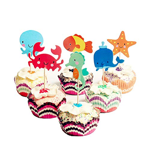 Ocean Animal Cupcake Toppers 48 Pack Mankujin Kids Happy Birthday Cake Topper for Under the Sea Theme Party Decorations