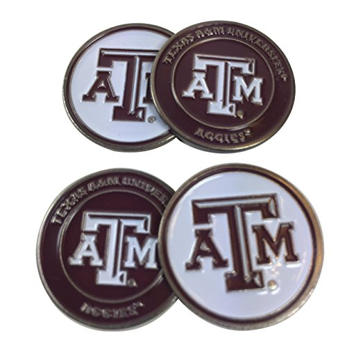 Texas A&M University Four (4) Golf Ball Markers – 2 sided (Maroon and White)
