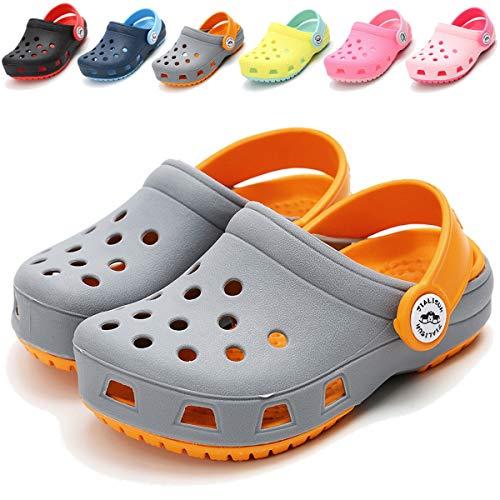 BENHERO Toddler Kids Boys Girls Classic Clogs- Slip On Cute Garden Water Shoes | Summer Slippers Pool Beach Slides Sandals | Lightweight and Comfort(Toddler/Little Kids),6.5 M US Toddler,B-Grey ()